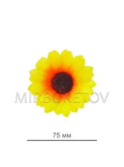 Подсолнух лимонного цвета из шелковой ткани, диаметр 75 мм, в упаковке 100 штук