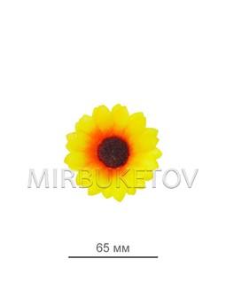 Подсолнух лимонного цвета из шелковой ткани, диаметр 65 мм, в упаковке 100 штук