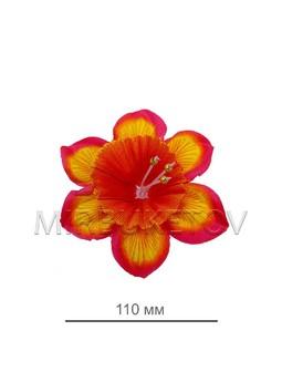 Пресс цветок красно-желтый нарцисс атлас E100, диаметр 110 мм, в упаковке 100 штук