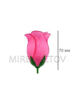 Роза бутон шелковый средний розовый кант высота 70 мм 014