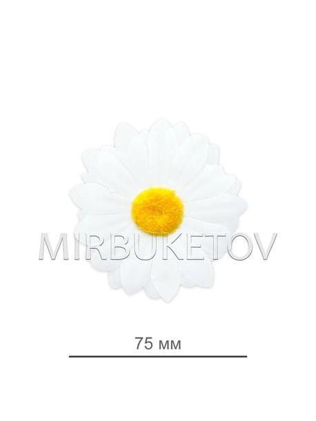 Ромашка белая шелковая, диаметр 75 мм, K109