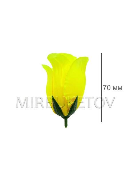 Роза бутон шелковый средний лимонный высота 70 мм 014
