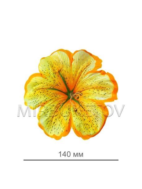 Пресс цветок лилия атлас, лимонная, диаметр 140 мм E2