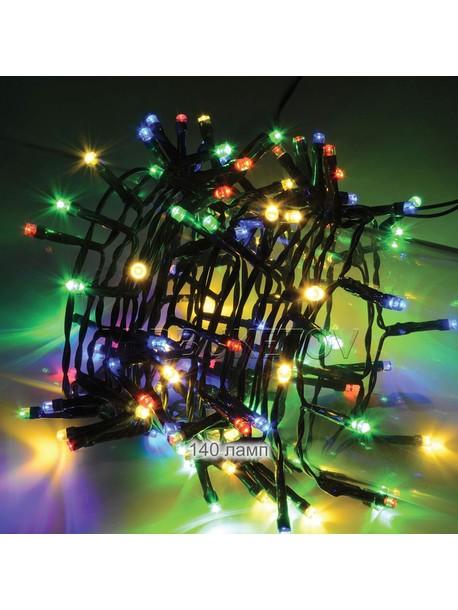 Гирлянда разноцветная 140 ламп на черном проводе