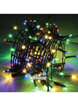 Гирлянда LED разноцветная 100 ламп на черном проводе