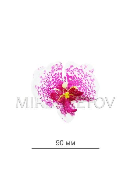 Орхидея, диаметр 90мм, белая с сиреневыми точками 0072-1
