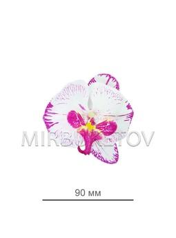 Орхидея, диаметр 90мм, белая с сиреневыми полосками 0072-1