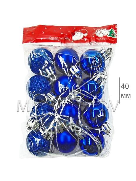 Кулек 12 шаров, диаметр 40 мм, синий