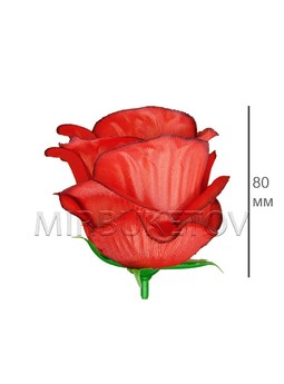 Роза бутон атласный пышный красный кант F30