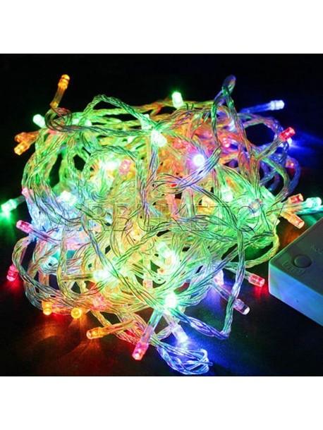 Гирлянда LED разноцветная, 100 ламп, прозрачный провод