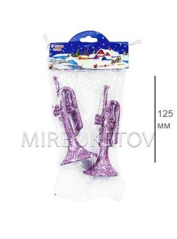 """Новогоднее украшение """"Флейта"""" 2 шт, 125 мм"""