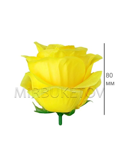 Роза бутон атласный пышный лимонный кант F30