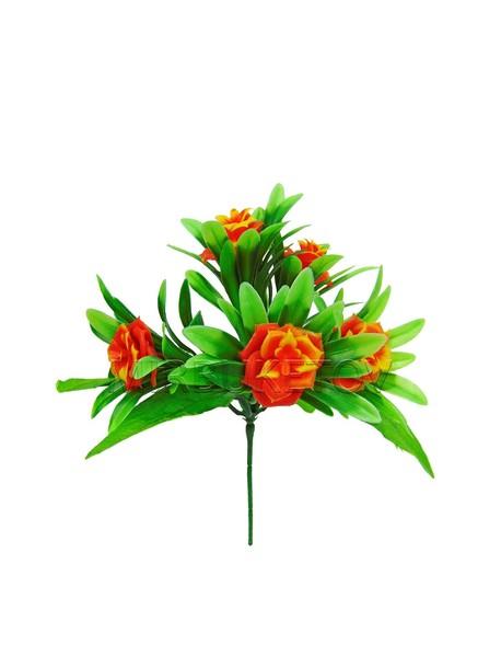 Бордюрный букет пластмассовой красно-оранжевой Розы на 5 голов