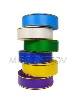 Лента для оформления венков и букетов, 2 золотые полосы, ширина 40 мм
