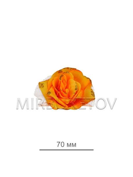 Роза оранжевая искусственная с тюль сеткой 70 мм