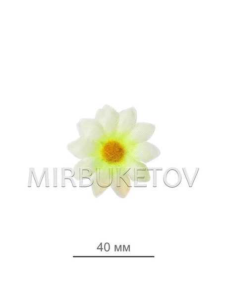 Ромашка с лимонной попкой шелковая (острые края) 40 мм B06