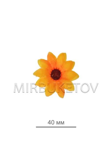 Ромашка желто-оранжевая шелковая (острые края) 40 мм B06