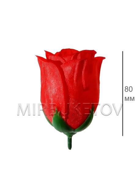 Роза бутон красный широкий, атлас, 80 мм, F14-2