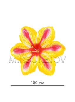 Пресс цветок лилия атласная лимонная, 150 мм, E6