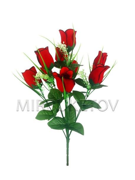 Букет на 9 голов бархатной розы, 440 мм, M802