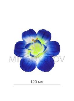 Пресс цветок мальва шелковая синяя с белым, диаметр 120мм, 700 шт в упаковке