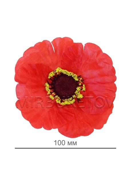 Искусственные цветы Мак красный с присыпкой, шелк, 100 мм
