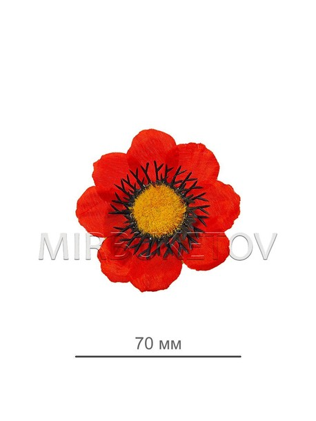 Искусственные цветы Мак красный, шелк, 70 мм