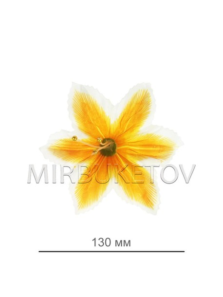 Пресс цветок орхидея атлас желтая, 120 мм, E9