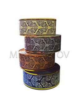 "Лента для оформления ""Дубок"" с 2 золотыми полосами, 50 мм, 50 ярд, S7-50"