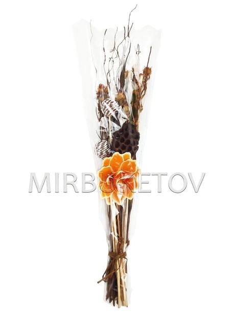 """Декоративный букет из засушенных растений """"Роза"""", 110 мм, Lx009"""