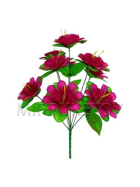Букет искусственной Китайской розы, 9 голов, 420 мм, M011