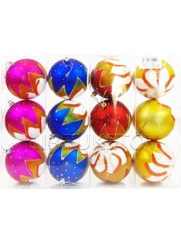 """Новогодние шары """"Зимняя звезда"""", колба 3 шара, 100мм, 626A"""