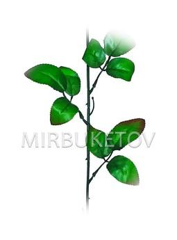 Ножка одиночная под розу, 3 тройных листа с кантом, 670 мм, N208