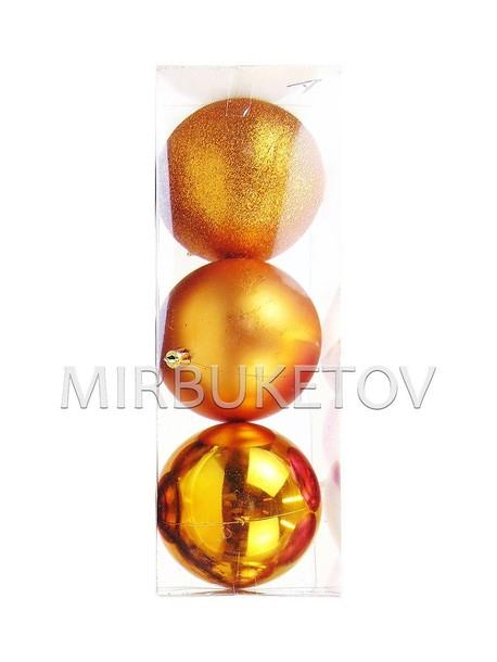 Колба 3 елочных шара бронза, 100 мм, Amix