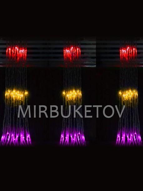 Гирлянда водопад LED разноцветная, 300 ламп, 2x2 м