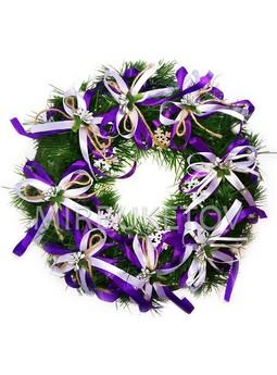 """Рождественский венок """"Фиолетовые банты"""", 32 см, AW004"""
