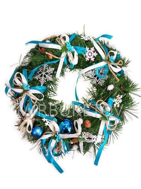 """Рождественский венок """"Бирюзовые банты"""", 32 см"""