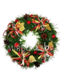 """Рождественский венок """"Золотые листья"""", 32 см, AW006"""