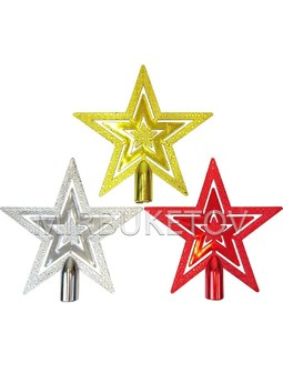 "Верхушка на елку ""Тройные звезды"", 100 мм, XQj123"