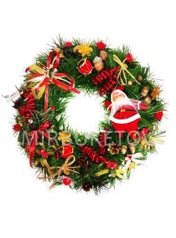 """Рождественский венок """"Хеллоу Санта"""", 32 см, AW009"""