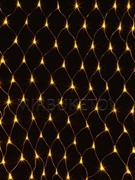 Гирлянда сетка LED желтая, 120 ламп, 1.5x1.2 м, соединяемая