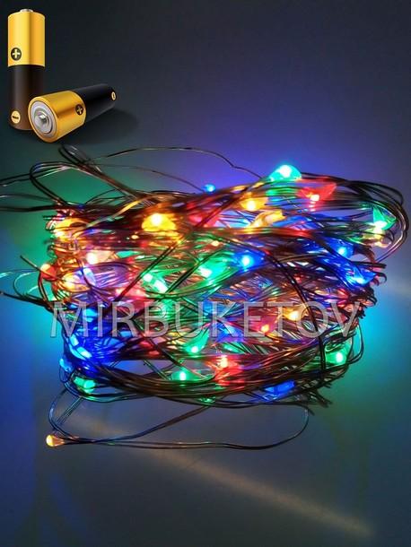 Гирлянда проволочная на батарейках LED разноцветная, 100 ламп