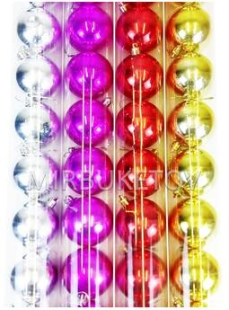 """Елочные шары 12 шт в колбе """"Новогодние"""", микс, 60 мм, CAS36"""