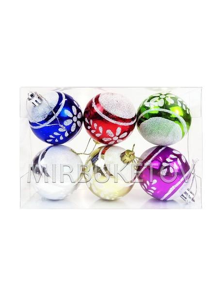"""Елочные шары 6 шт в колбе """"Цветочный узор"""", микс, 60 мм"""