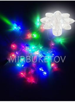 Гирлянда LED 36 ламп с насадками, разноцветная, прозрачный провод