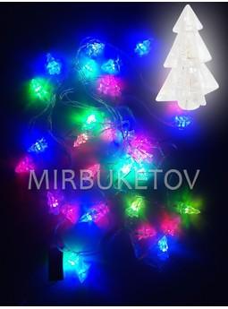 Гирлянда LED 36 ламп с насадками, разноцветная, прозрачный провод, NL36ML-T