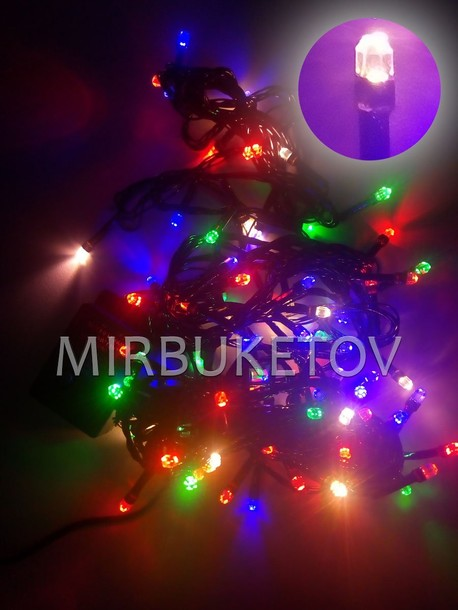 Гирлянда LED разноцветная, 100 ламп 6 гранных, черный провод