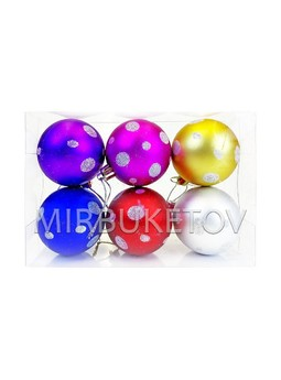 """Елочные шары 6 шт в колбе """"Овалы"""", микс, 60 мм, CAS23"""