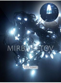 Гирлянда LED холодный белый, 100 ламп свеча, черный шнур