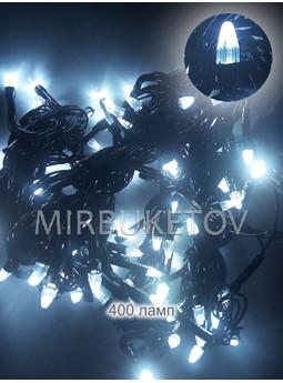 Гирлянда LED хол.белый, 400 ламп свеча, черный шнур, LED400WH-BC